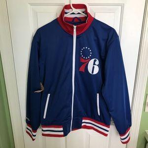 Men's Philadelphia 76ers track jacket size small